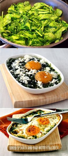Baked Spinach and Eggs - healthy, vegetarian