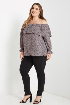 18efda9733697 Off the Shoulder Top Plus Size