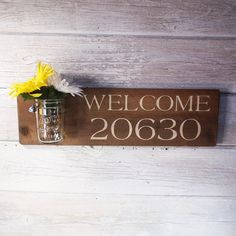 Wood Hand Painted Custom Sign- Welcome House Number- Maso Jar Vase- Country Decor-Vintage- Primitive-You Choose Word/Words