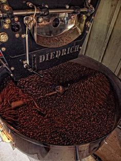 Delicious coffee roasting in the Diedrich roaster. I love Diedrich coffee!
