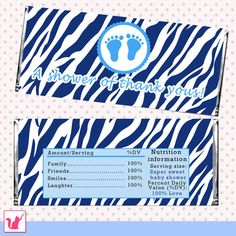 INSTANT DOWNLOAD Blue Baby Feet Zebra Baby Shower Party Candy Bar Wrapper - Jungle Safari DIY Baby Shower Favor Party Favor