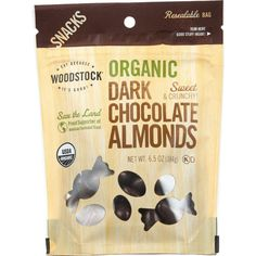 Buy Woodstock Snacks - Organic - Dark Chocolate Almonds - Sweet And Crunchy - Oz - Case Of 8 online. Almonds are an excellent source of calcium, protein and fiber. BPA Free Vegetarian Certified USDA OrganicCountry of origin : USAOrganic : Chocolate Covered Fruit, Dark Chocolate Almonds, Chocolate Liquor, Organic Dark Chocolate, Organic Snacks, Confectioners Glaze, Chocolate Coating, Organic Sugar, Cocoa Butter