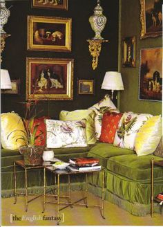 """Living room from a past Kips Bay Showhouse - Another view of the """"Sitting Room"""" by Mario Buatta was created as a homage to dogs with its classic dog and animal prints scattered throughout the room."""