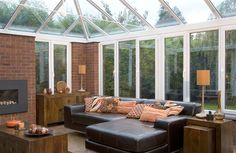 Conservatory with brick pillars