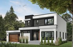 7344 Construction-Ready Bold Modern House Plan with Basement Foundation Printed Interior Modern, Modern Home Exteriors, House Exteriors, Interior Design, Small Modern Home, Modern Contemporary Homes, Best Modern House Design, Small Modern House Exterior, Small Contemporary House Plans