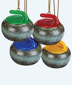 Enjoy a friendly reminder of your passion for curling during the holiday season. The curling rock tree ornament is a favourite of curling fans every year. Curls Rock, Knit Or Crochet, Curling, Decorative Bowls, Great Gifts, Seasons, Christmas Ornaments, Holiday, Green