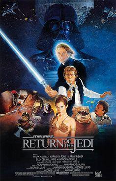 Star Wars Episode VI: Return of the Jedi (1983) Star Wars Poster, Star Wars Episodio Vi, Star Wars Episode 8, Episode 3, Mark Hamill Carrie Fisher, Harison Ford, Star Wars Brasil, Dave Prowse, Le Retour Du Jedi