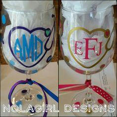 Nurse wine glass, stethoscope, monogram, Nurse Appreciation, Registered Nurse, wine glass, Nursing students, ladies, RN, LPN, LAD, Nursing