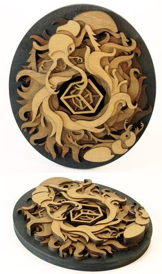 Stag Beetle's Treasure by mtomsky on etsy.   layered laser-cut wood.  $194
