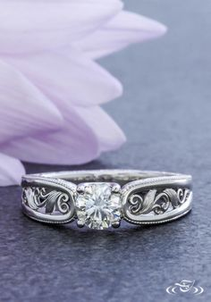 Leaf and Filigree Engagement Ring. Green Lake Jewelry