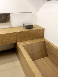 Bad, Badewanne Eiche : Moderne Badezimmer von Schreinerei Leim&Späne München