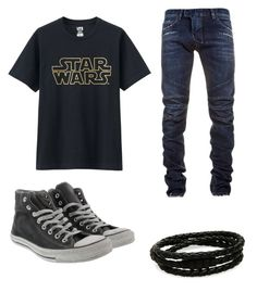 """""""My First Polyvore Outfit"""" by dalma-pothorszki ❤ liked on Polyvore featuring Uniqlo, Balmain, Converse and Porsche Design"""