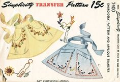 Simplicity Pattern 7400 Vintage 40's Gay Clothespin Aprons - Embroidery, Pattern and Applique Transfer! Complete