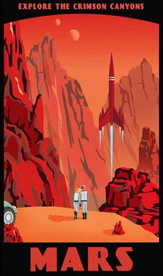 Explore the crimson canyons on Mars. Vintage-inspired sci-fi poster
