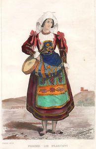 1834-donna-di-Frascati-costumi-bulino-acquarellato Folk Costume, Costumes, Fashion History, Traditional Dresses, Italy, Italian Fashion, Oriental, Clothes, Children