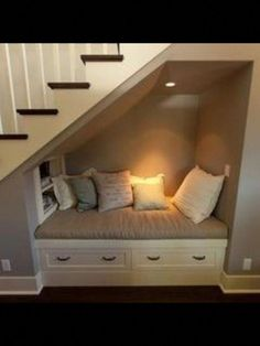 Home Remodeling Stairs Under the basement stairs reading nook! (while waiting for the laundry ; Basement Bedrooms, Basement Stairs, Basement Flooring, Basement Bathroom, Basement Ideas, Basement Ceilings, Modern Basement, Small Basement Design, Finished Basement Designs