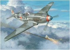 Yak Attack! by Roy Grinnell  The 15th victory of pilot Roland de la Poype, Escadrille Normandie Niemen on October 23, 1944, when he shot dow...