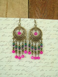Boho Earrings Colorful Jewelry Bohemian Jewelry by BohoStyleMe