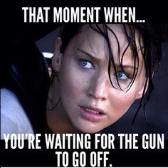 I feel like I look like I'm about to pass out or puke from nerves or something. But once the gun goes off.. Phew!