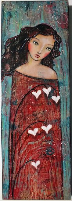 OOAK Original Folk Art Woman My Bleeding Heart by Pennystamper, $85.00