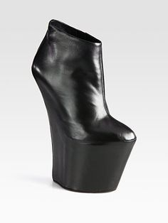 ShopStyle: Giuseppe Zanotti Leather Curved-Wedge Platform Ankle Boots