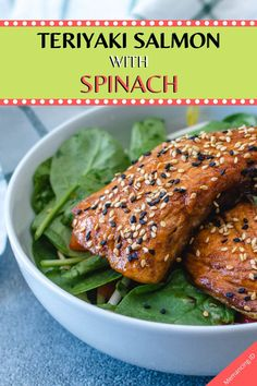 Teriyaki Salmon with Spinach - Seafood Recipes Easy Fish Recipes, Quick Recipes, Seafood Recipes, Mexican Food Recipes, Chicken Recipes, Cooking Recipes, Crockpot Recipes, Ethnic Recipes, Low Carb Snacks List