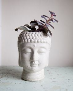 Buddha Head Planter large garden decor by brooklynglobal on Etsy, $45.00