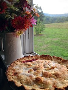 Country pie cooling in the open window