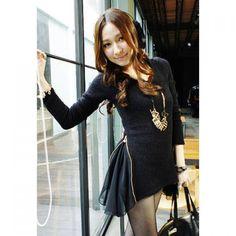 Stylish Boat Neck Long Sleeves Chiffon Splicing Zipper Design Skinny Woolen Blend Sweater For Women