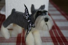 Schnauzer needle felted by Creativewhimsee on Etsy, $52.00
