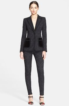Dolce & Gabbana Long Jacquard Blazer. Exquisitely crafted jacquard gives decadent dimension to this bold, matador-inspired blazer designed with plush velvet pockets and opulent braided trim.