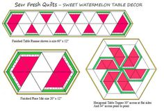 This listing is for the Sweet Watermelon Table Decor set pattern only. It is available for instant download. There are no shipping charges. Instructions for each of the three designs is included in this pattern. This charming Spring and Summer design uses a equilateral triangle piecing and is used to create any of the three samples shown: Long Runner, Hexagon Table Topper, and set of 4 Place Mats Table Runner measures 60 x 12 Each Place mat measures 20 x 12 Hexagon Table Topper is 30…