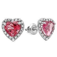 1.65 Carat (ctw) 10k White Gold Heart Pink Tourmaline Diamond Halo Stud Earrings