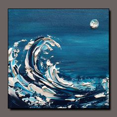 Abstract Ocean Painting, Abstract Canvas Art, Abstract Landscape, Guache, Wave Art, 3d Max, Texture Art, Illustrations, Painting & Drawing