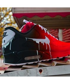 Amazing Nike Air Max 90 Candy Drip Gradient Black Red Trainer,Good For Exercise!