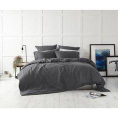 Lavish your slumber with the KOO Loft Linen Quilt Cover Set. Linen Pillows, Linen Bedding, Bed Linens, Quilt Bedding, Duvet, Black Bed Covers, Dark Grey Bedding, Charcoal Bedroom, Black Bed Linen