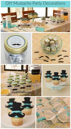 Little Man Mustache Party Decorations - #babyshowers #mustache #littleman #babyboy #teal #partydecorations