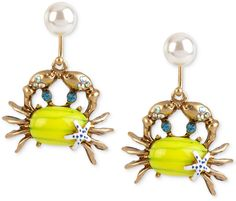 Betsey Johnson Gold-Tone Embellished Crab Drop Earrings