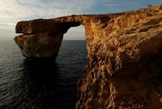Malta's famed Azure window collapsed into the sea on Wednesday after the Maltese islands were hit by rough seas and stormy weather.      REUTERS/Darrin Zammit Lupi