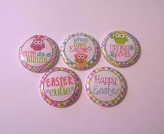 """Set of 5 Easter Cutie (OWLS)  1"""" Button Flatbacks, Pinbacks or Hollowbacks"""