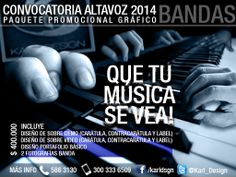Hola bandas!!!  Aprovechen esta oportunidad de participar en Altavoz 2014 con un trabajo gráfico de calidad. Es hora de tomarlo en serio.  QUE TU MÚSICA SE VEA! Y QUE SE VEA BIEN!!!