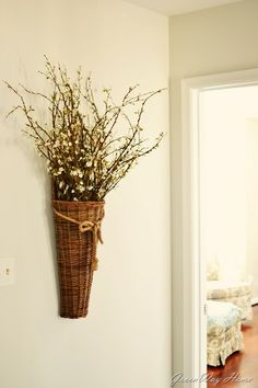 Woven basket with flowers/branches #spring