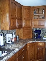 We were tired of the look of our kitchen. Restained and glazed the cabinets, new backsplash and installed WilsonartHD lamimate. (Winter Carnival) Material arrived fast,installed without a problem. The beveled edge makes it look like a custom top at a do-it-yourself price.