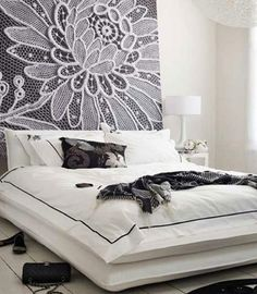Lace headboard http://www.myhomerocks.com/2012/03/diy-headboard-ideas/