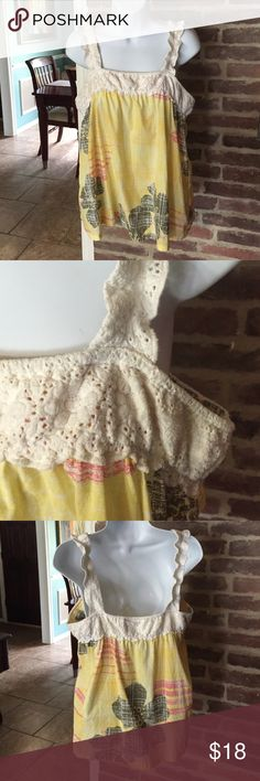 Roxy tank top size large Roxy size large yellow tank with off white crochet type trim and straps. Roxy Tops Tank Tops