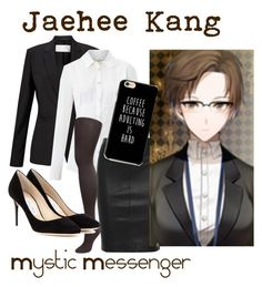 """Jaehee Kang from Mystic Messenger"" by kayxiv1256 ❤ liked on Polyvore featuring HUGO, Weekend Max Mara, Joseph, Muk Luks and Jimmy Choo"