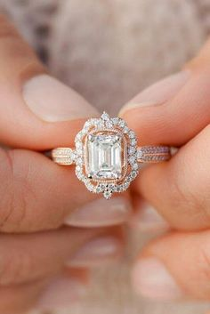 rose gold engagement rings emerald cut diamond vintage