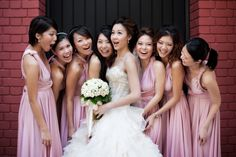 Convertible bridesmaid dresses in dusty pink