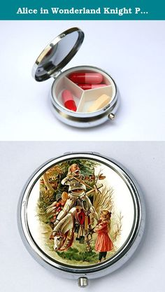 Alice in Wonderland Knight Pill case box holder horse victorian fairytale. Pill case measures just under 2 inches in diameter. Case has 3 dividers inside. Dividers are not removable. Case has a button to open and is securely hinged. Image is protected by an epoxy dome.