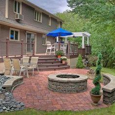 brick patio with fire pit | Brick patio with fire pit. Love the large ... | Front Porch & Back De ...